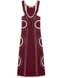 Mulberry Cornelia Dress In Prune Micro-rib Knit - Red