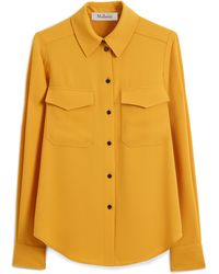 Mulberry Poppie Shirt In Deep Amber Fluid Crepe - Yellow