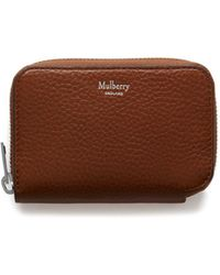 Mulberry - Multicard Zip Around Purse In Oak Natural Grain Leather - Lyst