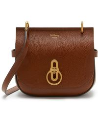 Mulberry Small Amberley Satchel In Oak Natural Grain Leather - Brown