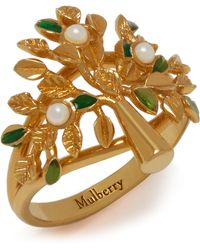 Mulberry Tree Ring In Gold And Green - Metallic