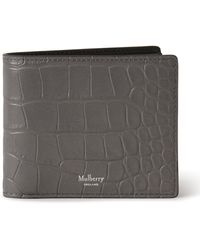 Mulberry 8 Card Coin Wallet In Charcoal Soft Printed Croc - Grey