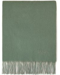 Mulberry Solid Lambswool Scarf In Cambridge Green Lambswool