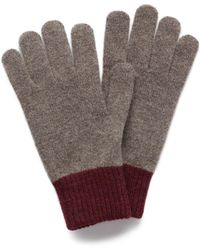 Mulberry - Knitted Gloves In Clay Lambswool - Lyst