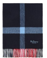 Mulberry Large Check Lambswool Scarf In Lipstick Red Lambswool - Blue
