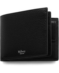 Mulberry 8 Card Coin Wallet In Black Natural Grain Leather