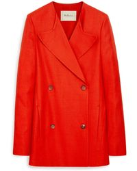 Mulberry Martha Jacket In Lipstick Red Linen Tailoring