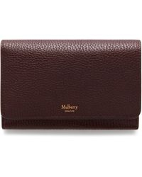 Mulberry Medium Continental French Purse In Oxblood Natural Grain Leather - Multicolor
