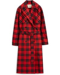 Mulberry Libby Coat In Scarlet Tartan Canvas - Red