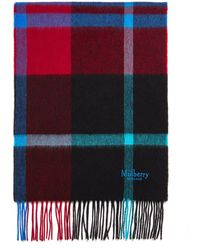 Mulberry Small Check Lambswool Scarf In Scarlet Lambswool - Red