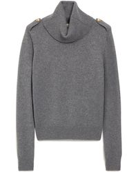 Mulberry Raina Cowl Neck Jumper In Charcoal Winter Wool - Grey