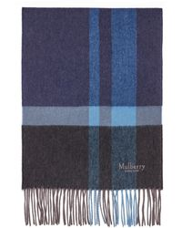 Mulberry Cashmere Blend Scarf In Midnight Cashmere Wool Blend - Blue