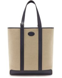 Mulberry Heritage Tote In Midnight Canvas And Smooth Calf - Blue