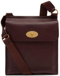 Mulberry - New Antony Messenger In Oxblood Natural Grain Leather - Lyst