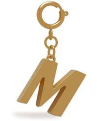 Mulberry Alphabet Brass Keyring - M In Gold Zinc - Metallic