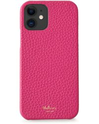 Mulberry Iphone 12 Case In Pink Heavy Grain