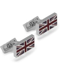 Mulberry - Rectangular Flag Cufflinks In Midnight, White And Burgundy Metal And Enamel - Lyst