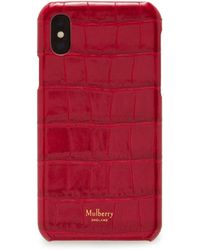 Mulberry Iphone X/xs Cover In Red Berry Croc Print