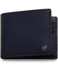 Mulberry 8 Card Wallet With Tree Plaque In Bright Navy Cross Grain Leather - Blue