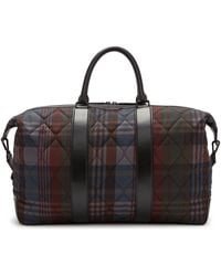Mulberry Zipped Weekender In Multicolor Quilted Heritage Check - Black