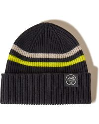 Mulberry Beanie Neon Stripe In Black And Yellow Wool