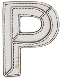 Mulberry Leather Sticker - P In White Small Classic Grain