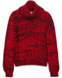 Mulberry May Roll Neck Jumper In Scarlet Chunky Fleck Wool - Red