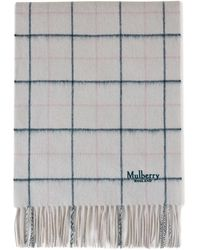 Mulberry Tri Color Windowpane Check Lambswool Scarf In Chalk Lambswool - Gray