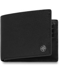 Mulberry 8 Card Wallet With Tree Plaque In Black Cross Grain Leather