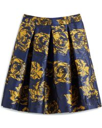 Mulberry Leona Skirt In Bright Navy Floral Jacquard - Blue