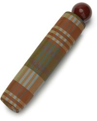 Mulberry Telescopic Umbrella In Moss Heritage Check - Brown
