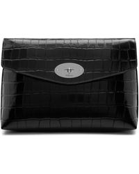 Mulberry Large Darley Cosmetic Pouch In Black Croc Print