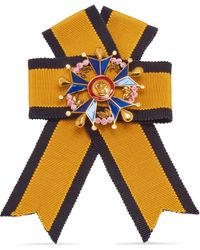 Mulberry Military Cross Brooch In Yellow, Navy And Old Gold Fabric And Brass - Multicolour