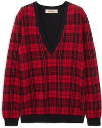Mulberry Isobelle Jumper In Scarlet Tartan Check Jacquard - Red