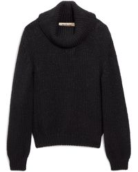 Mulberry May Roll Neck Jumper In Black Lurex Wool