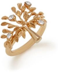 Mulberry - Tree Ring In Brass Metal And Swarovski Crystal - Lyst
