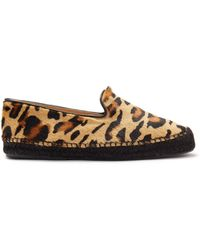 Mulberry Sunset Loafer Espadrille In Leopard Print Haircalf - Brown
