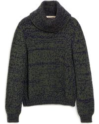 Mulberry May Roll Neck Jumper In Green Chunky Fleck Wool