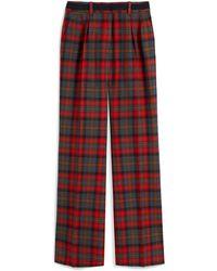 Mulberry Patsy Trousers In Scarlet Tartan Wool - Red