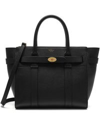 Mulberry Small Zipped Bayswater In Black Small Classic Grain