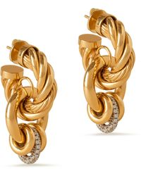 Mulberry Twist Multi-hoops Earring In Gold And Crystal Brass And Glass - Metallic