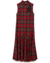 Mulberry Lexi Dress In Scarlet Embroidered Tartan Wool