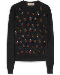 Mulberry Floral Embroidered Jumper - Black