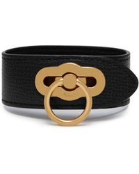 Mulberry Amberley Bracelet In Black Cross Grain Leather