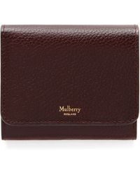 Mulberry Small Continental French Purse In Oxblood Natural Grain Leather - Brown