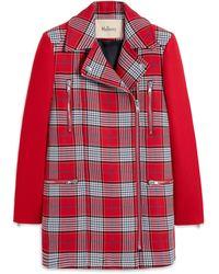 Mulberry Savanna Coat In Scarlet Summer Tartan - Red