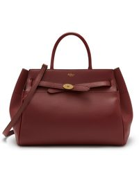 Mulberry Belted Bayswater In Crimson Heavy Grain - Red
