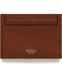 Mulberry Credit Card Slip In Oak Natural Grain Leather - Multicolour