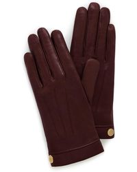 Mulberry Soft Nappa Leather Gloves In Burgundy Nappa Leather - Red