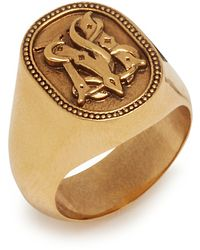 Mulberry Blazon Signet Ring In Antique Gold Brass - Metallic